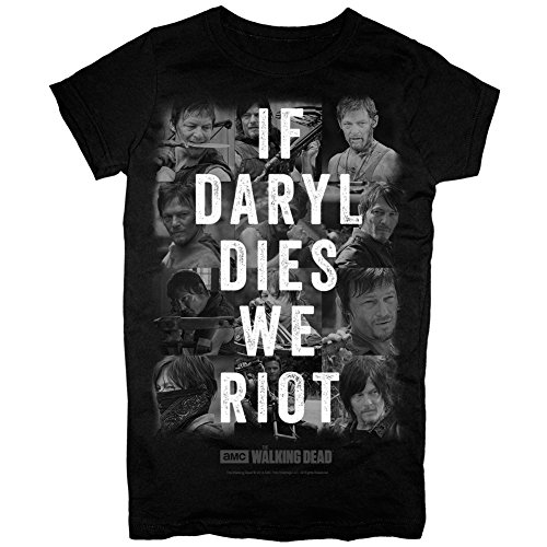 The Walking Dead If Daryl Dies We Riot Juniors Black T-Shirt (Medium)