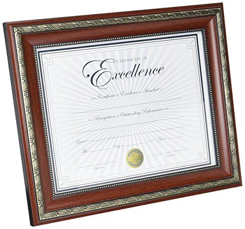 Dax World Class Document Frame with Certificate, Rosewood, 8 1/2 x 11 Inches -