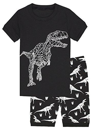[Boys' Dinosaur Pajamas 100% Cotton 2-Piece Kids Sleepwear Clothes Set Black 3T] (Animal Outfits For Toddlers)