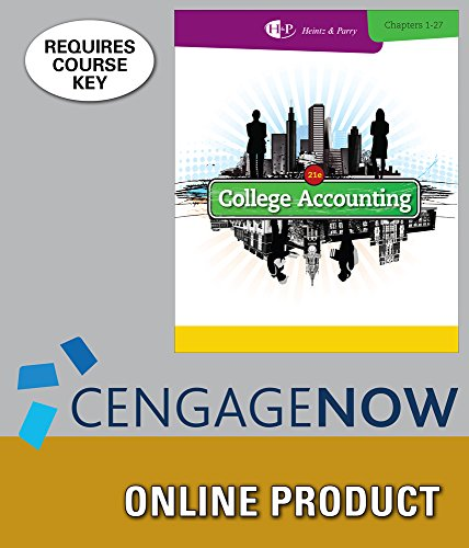 Cengagenow For Heintz Parrys College Accounting  Chapters 1 27  21St Edition