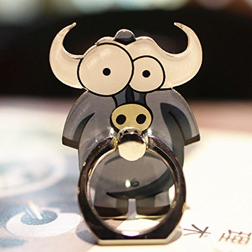 Cell Phone Finger Ring Holder Cute Animal Smartphone Stand 360 Swivel for Iphone, Ipad, Samsung HTC Nokia Smartphones, Tablet (Buffalo)