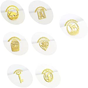 yueton Pack of 7 Mini Hollow Golden Metal Bookmarks Book Note Pad Memo Marker Label