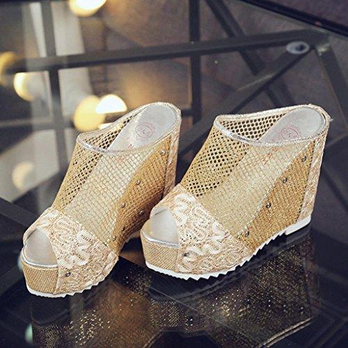 Sandalias para Mujer, RETUROM Sandalias hueco de tacón alto de las mujeres de la manera Oro