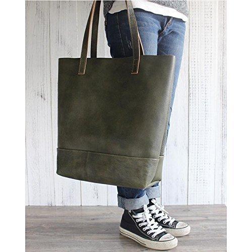 Handmade Women Fashion Natural Green Leather Tote Bag Shoulder Bag Shopper Bag