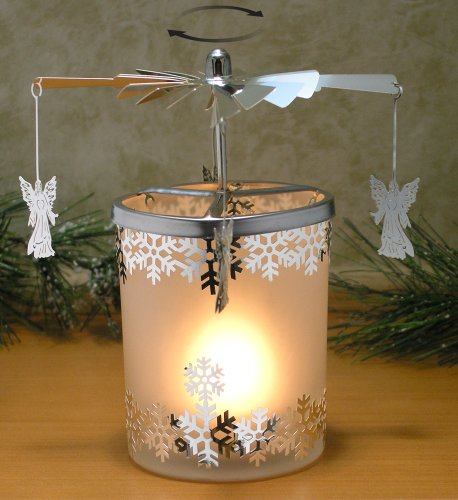 Glass Angels Candle Holder (Spinning Candle - Frosted Glass Spinning Candle Holder - Angels and Snowflakes - Silver Metal with Laser Cut Design - Scandinavian Style Carousel Candle)