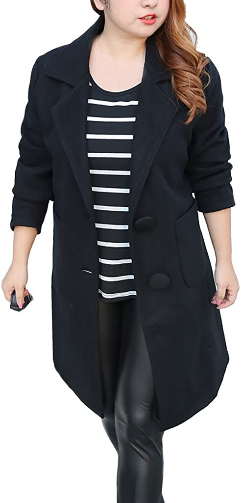ZANLICE Womens Long Sleeve Lapel V Neck Belted Outwear Wool Coat L XL 1X 2X