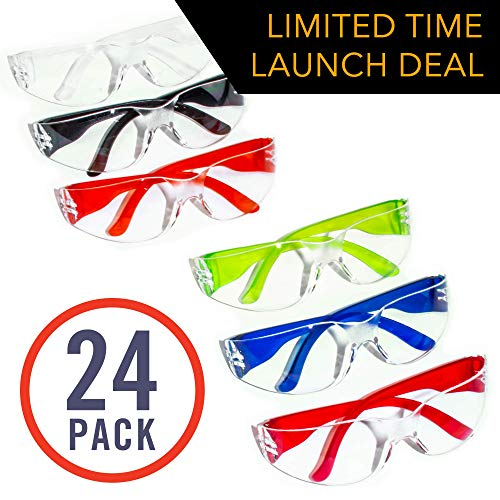 24 Pack Of Safety Glasses 24 Protective Goggles In 6 Different Colors Crystal Clear Eye Protection Perfect For Construction Shooting Lab Work And More