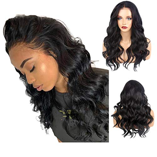 SOOTOP Curly Long Wigs Women's Brazilian Hair Fluffy Water Wave Black Lace Front Heat Friendly Synthetic Cosplay Party Wigs Hair Extensions ()