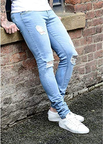Mid Pantaloni Ragazzo Hellblau1 Denim Vita Destroyed Slim Casual Men's Stretch Skinny Strappato Straight Fit Jeans Fashion ZwfOSHc