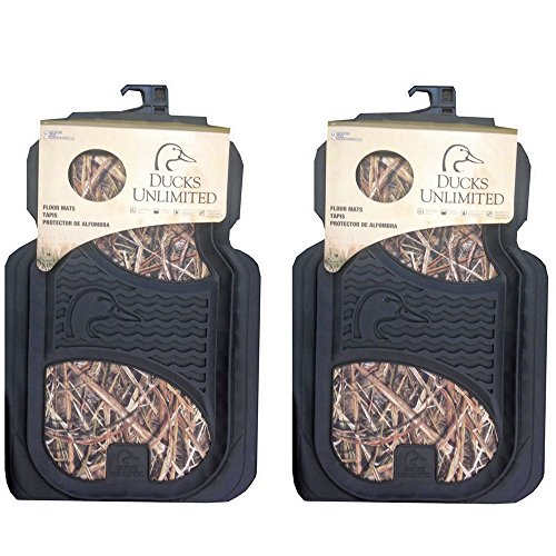 Ducks Unlimited Camo Max-4 Car Truck SUV Front Seat Heavy Duty Trim-to-Fit Rubber Floor Mats - Pair (Ducks Unlimited Camouflage Camo)