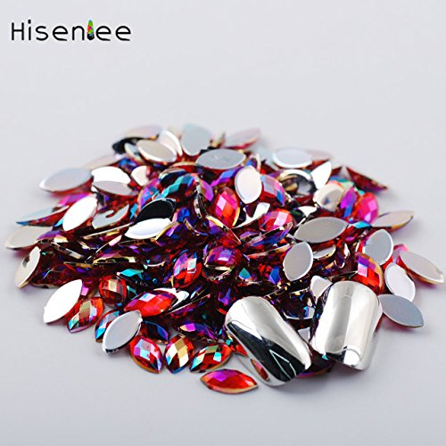 Kamas Crystal Glittering 48mm 200pcs Holographic Horse Eye Nail Studs Rhinestones 14 Colors Holo Laser 3D Diamond Nail Art Decoratens - (Color: red ab)