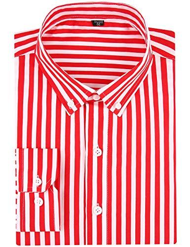 DOKKIA Men's Casual Long Sleeve Vertical Striped Slim Fit Dress Shirts (Red White, Medium)
