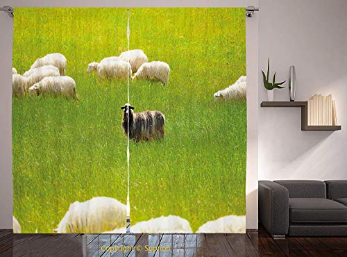 (Living Room Bedroom Window Drapes/Rod Pocket Curtain Panel Satin Curtains/2 Curtain Panels/108 x 90 Inch/Nature,Black Sheep between White Goats on Grass Field Meadow Animal Farm Landscape,Fern Green)