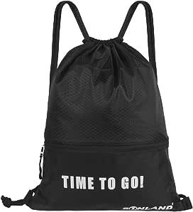 SUNLAND Waterproof Drawstring Backpack Sport Beach Gym Bag with a Front Zipper Pouch for Women Men Children