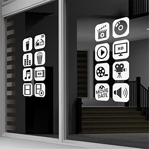Removable Vinyl Mural Decal Quotes Art Wall Sticker Cinema Photo Camera Film Cinema Logo Sign for Studio Room ()