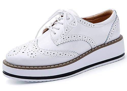 Minetom Zapatos de Casual Brogue Oxford para Mujer Vintage Derby Cuero Zapatos con Cordones Plataforma Oficina Mocasines Loafers: Amazon.es: Zapatos y ...