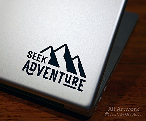 Seek Adventure Decal - Laptop Decal, Tablet Decal (4 inches wide, Custom Color) Embrace Vinyl Laptop Skin