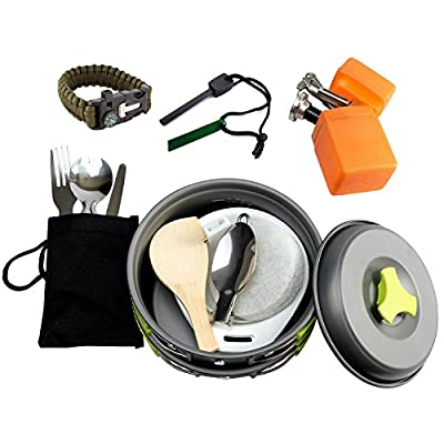 MalloMe Camping Cookware Mess Kit Backpacking Gear & Hiking Outdoors Bug Out Bag Cooking Equipment Cookset | Lightweight, Compact, Durable Pot Pan Bowls -Free Folding Spork,Nylon Bag,Ebook