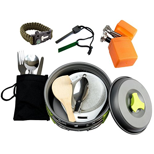 1 Liter Camping Cookware Mess Kit Backpacking Gear & Hiking Outdoors Bug Out Bag Cooking Equipment 18 Piece Cookset | Lightweight, Compact, & Durable Pot Pan Bowls - Free Folding Spork, Nylon Bag