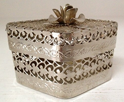 Silver-Metal-Filigree-Vintage-ORMOLU-BOX-For-Trinkets-or-Dusting-Powder-Perfume (Filigree Perfume)