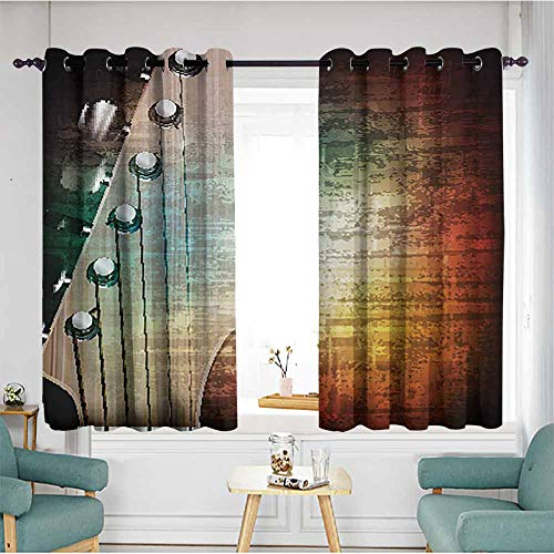 AndyTours Living Room/Bedroom Window Curtains,Guitar Abstract Grunge Retro Background with Headstock and Tuning Pegs Blues Jazz Musician,Energy Efficient, Room Darkening,W55x63L,Multicolor