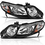 AUTOSAVER88 Headlight Assembly for 06 07 08 09 10 11 Honda Civic Sedan 4-Door Headlamp with Amber Park Lens,Black Housing Amber Reflector, One-Year Warranty (Passenger And Driver Side)