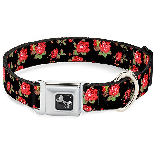 (Dog Collar Seatbelt Buckle Red Roses Scattered Black 18 to 32 Inches 1.5 Inch Wide)