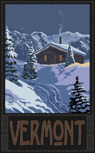 Northwest Art Mall Vermont Winter Mountain Cabin Unframed Poster Print by Paul A. Lanquist, 11-Inch by - Malls Vermont
