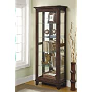 5-Shelf Curio Cabinet with Mirrored Back and Can Lighting Cappuccino and Clear