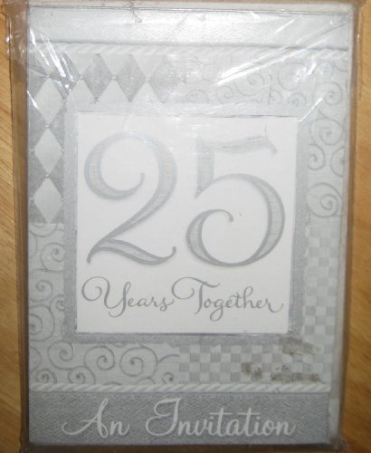 - 25th Wedding Anniversary 'Platinum Wedding' Invitations w/ Envelopes (8ct)