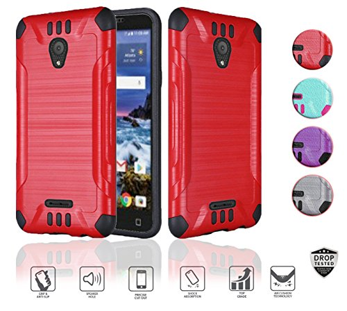 Alcatel Verso Case, IdealXcite case, CameoX case 5044R, Alcatel U50 case 5044S, Heavy Duty Metallic Brushed Slim Hybrid Shockpoof Dual Layer Armor Defender Protective Case (Red)