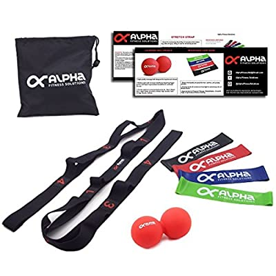 Alpha Fitness Solutions Top Home Workout Kit- Premium Portable All-Inclusive Fit Kit w/ Stretch Strap + Mini Loop Bands+ Trigger Point Massage Ball- Stay Fit & Healthy At Home, In The Gym Or On The Go