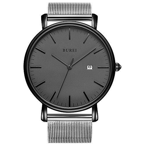 BUREI Men's Fashion Minimalist Wrist Watch Analog Deep Gray Date with Black Milanese Mesh Band (Gold-Mesh Band)