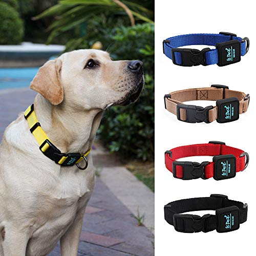 ISPET Dog Collar Adjustable Nylon Dog Collar with Buckle, Soft and Comfortable Dog Collars for Small Medium Large Dogs