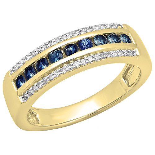 14K Yellow Gold Round Blue Genuine Sapphire & White Diamond Ladies Anniversary Wedding Band 14k Yellow Sapphire Ring