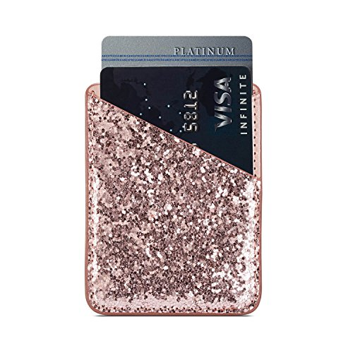Phone Card Holder Adhesive Stick-on Credit Card Pu Leather Wallet Card Holder Back Phone case Pouch Sleeve Pocket Most Smartphones iPhone/Android /Samsung Galaxy(Rose-Gold-Blue) by Aroko (Image #3)