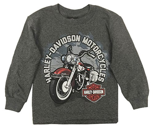 Harley-Davidson Big Boys Biker Sidekick Long Sleeve Shirt, Charcoal Heather ()