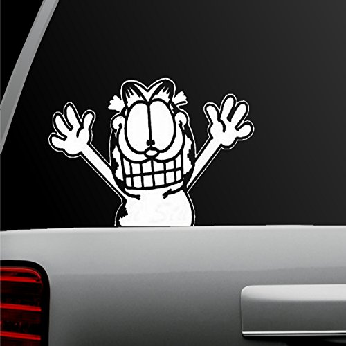 Garfield - Waiving - Auto - Decal - Sticker - For Window - Car - Truck - SUV - Motorcycle - Helmet - (Garfield)