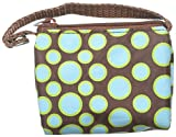 Paci Pouch Pacifier Holder - Brown & Blue Green Polka Dot