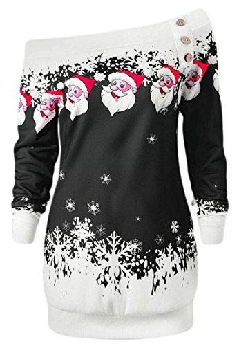 Jaycargogo Dalla Felpa Stampa Santa spalla Nero Di Donne Fuori Fiocco Vestito Natale Allegro rHxrq1