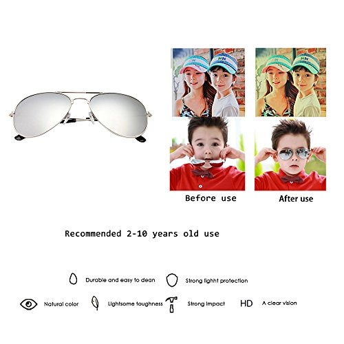 Fashion Colorful Kids Sunglasses Eyeglasses Goggles Boy Girls Eyewear 2-9 Years Old (Silver frame white mercury) by coffled (Image #4)