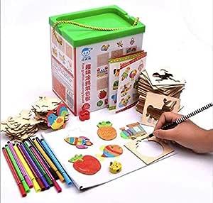 لعبة تعليم الرسم مع مجموعة من كروت التلوين الخشبية