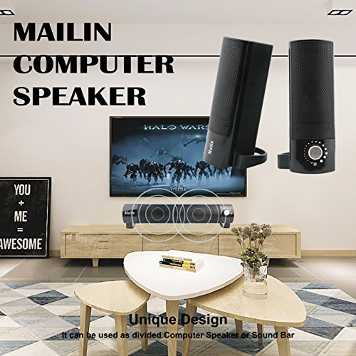 Mailin Detachable Computer Speaker, PC Speaker, Soundbar, Laptop Speaker, USB Power Supply 3.5mm Stereo Input, 5 Watts RMS Total Power with Volume Control (Black) by Mailin (Image #4)'
