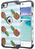 ULAK iPod 5 Case, iPod Touch 6 Case Slim Dual Layer Hybrid Silicone PC Hard Protective Case Cover for Apple iPod touch 5th 6th Generation Pineapple/Mint