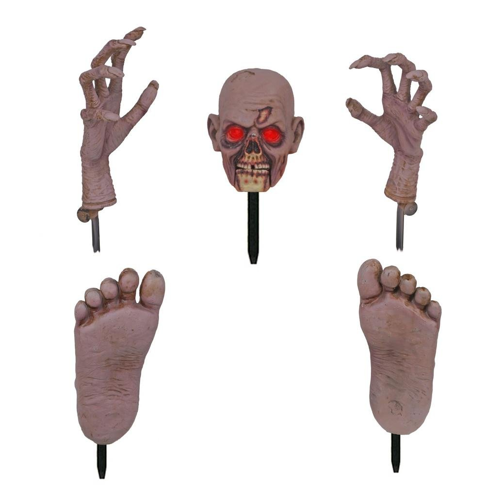 Home Accents 17'' Zombie Ground Breaker with LED Illumination Including Head and Hands and Feet Set