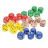 MonkeyJack 25pcs Opaque D6 Dice 5cm Six Sided Die for Role Playing Board Game Accessories