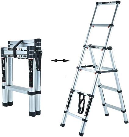 XSJZ Escaleras telescópicas Escalera de Espiga Doméstica, Elevador Portátil Grueso de Aleación de Aluminio, Pasamanos de Doble Capa, Más Adecuado para Subir Escaleras Escalera Plegable (Color : A): Amazon.es: Hogar