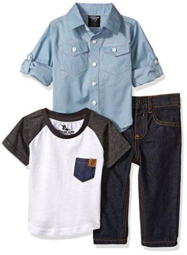 American Hawk Baby Boys Camisa de Manga Larga, Playera y Pant Set (más Estilos), Gris, 3-6 Months