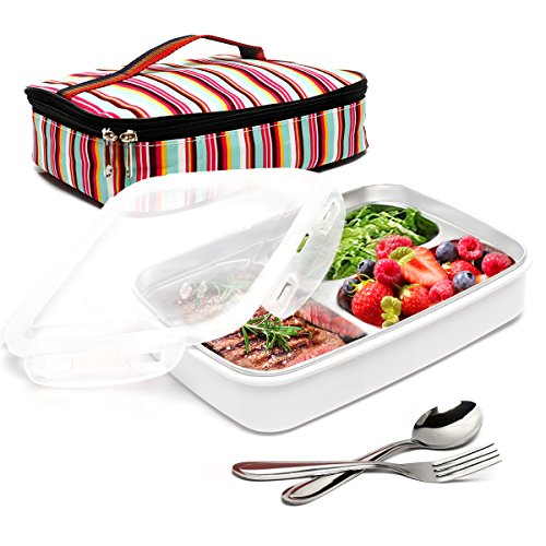 BOQUN Stainless Steel Bento Box Removable 3 Compartments Rectangular Lunch Box Leakproof Food Storage Containers with Insulated Bag and Fork Spoon Kit, Microwave Dishwasher Safe (Beige)