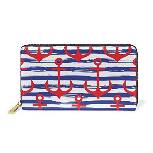 Purses Blue Leather TIZORAX And Clutch Stripe Wallet Handbags Womens Around 2 Organizer Anchor Pattern Zip w1Cxfqp